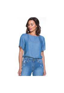Blusa Jeans Liocel Lúcia Figueredo Manga Curta Azul