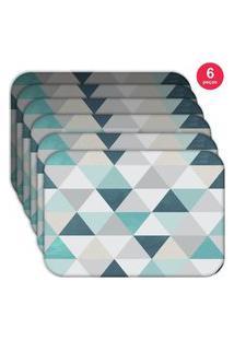 Jogo Americano Love Decor Wevans Green Triangle Kit Com 6 Pçs