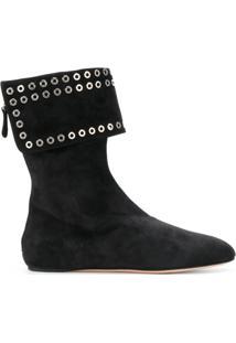 Alexander Mcqueen Ankle Boot De Couro Com Ilhoses - Preto