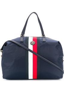 Tommy Hilfiger Logo Striped Tote - Azul