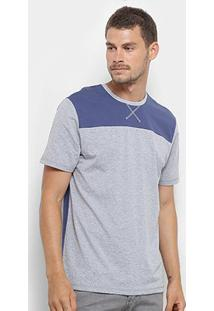 Camiseta Burn Gola Trançador Masculina - Masculino-Mescla