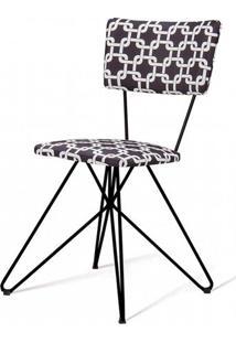 Cadeira Pop Estampa Rolls Preto Base Estrela Preta - 49572 - Sun House