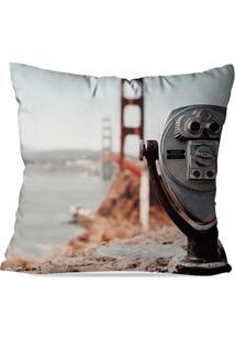 Almofada Avulsa Decorativa Retro Golden Gate