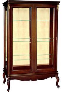 Cristaleira Delli Vitrine 2 Portas Personalizado Madeira Maciça Com Entalhes E Detalhe Em Marchetaria Design Clássico