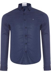Camisa Masculina Slim Canne Pixels - Azul