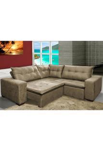 Sofa De Canto Retrátil E Reclinável Com Molas Cama Inbox Oklahoma 2,20M X 2,20M Suede Velusoft Castor