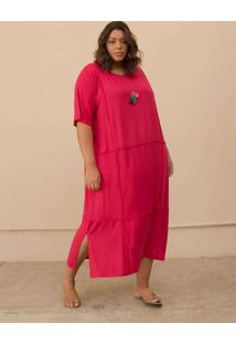 Vestido Overlouco Plus Size Pink-G Rosa