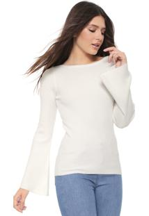 Suéter Facinelli By Mooncity Tricot Mangas Flare Off-White