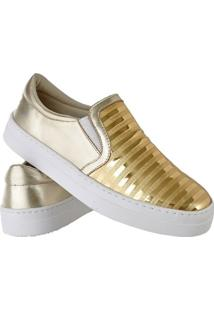 Tênis Emanuelly Shoes Slip On Feminino - Feminino-Dourado