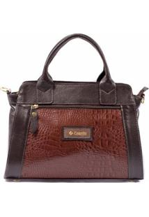 Bolsa Couribi Couro Legítimo Texturizado Mini Bag Alça Transversal - Feminino-Marrom