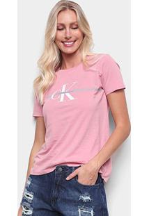 Camiseta Calvin Klein Slim Logo Faixa Feminina - Feminino-Rosa