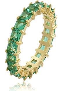 Anel Viva Jolie Riviera Quadradinhos Esmeralda Fusion Banho Em Ouro-11