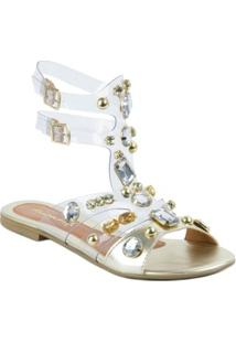 Sandália Fioratto Rasteira Com Alça Em Silicone Com Pérolas - Feminino-Dourado
