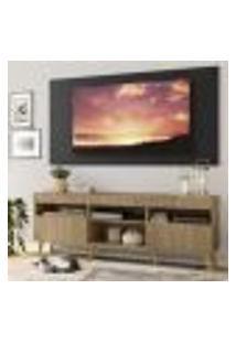 """Rack Com Painel Tv 65"""" Londres Multimóveis Pés Retrô E 2 Portas Rustic/Preto/Natural"""