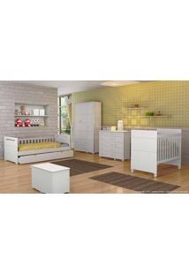 Quarto De Bebê Completo Com Guarda-Roupa 3 Portas Fratelli, Berço, Cômoda, Bicama E Baú Branco - Matic Móveis
