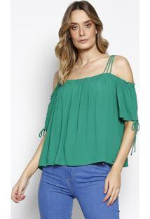 Blusa Com Elástico- Verde- Sommersommer