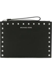 Michael Michael Kors Bolsa Clutch De Couro - Preto
