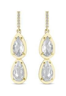 Brinco Gotas Ouro Amarelo Cristais E Diamantes