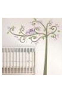 Adesivo De Parede Floral Coruja Na Arvore - P 73X152Cm