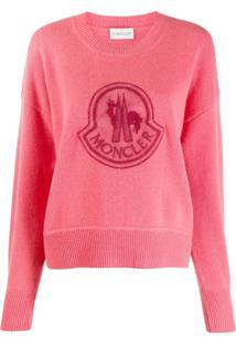 Moncler Suéter Com Patch De Logo - Rosa