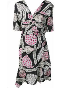 Isabel Marant Vestido Floral Com Franzido - Preto