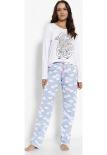 743800aa4 ... Pijama Ovelha - Branca   Azul Claromensageiro Dos Sonhos
