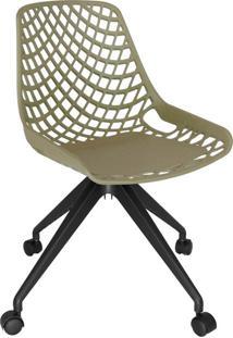 Cadeira De Cozinha Giratória Beau Design Verde E Preta