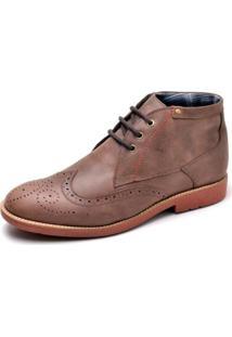 Sapato Casual Oxford Couro Reta Oposta Masculina - Masculino-Cafe