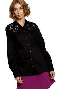 Camisa Manga Longa Energia Fashion Lisa Preto