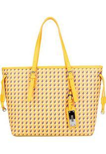 Bolsa Santa Lolla Shopper Geométrica Feminina - Feminino-Amarelo