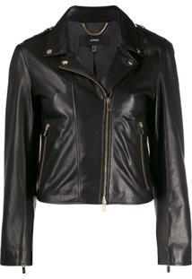Arma Slim-Fit Leather Jacket - Preto