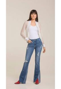 Calca Leboh Boot Cut Gigi Cos Intermediario Abertura Barra Jeans Jeans