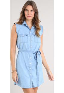 5e8441069f Vestido Jeans Feminino Curto Com Bolsos E Faixa Para Amarrar Sem Manga Azul  Claro