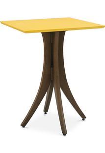 Mesa De Jantar Pequena Quadrada Juliette 60X60X77Cm Nogueira E Amarelo
