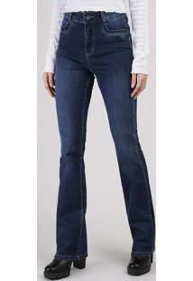 Calça Jeans Feminina Sawary Flare Heart Cintura Super Alta Azul Escuro