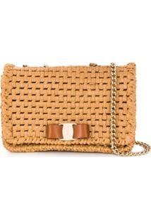 Salvatore Ferragamo Vara Bow Raffia Shoulder Bag - Neutro
