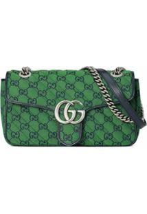 Gucci Small Gg Marmont Multicolor Shoulder Bag - Verde