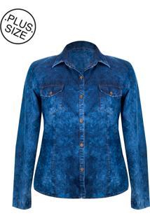 Camisete Outletdri Camisa Jeans Feminina Manga Longa Plus Size Azul