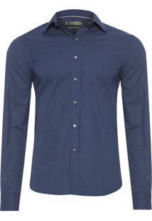 Camisa Masculina Print Mini Poá - Azul
