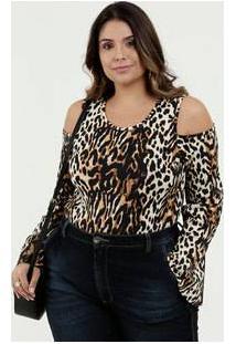 Body Feminino Open Shoulder Estampa Animal Print Plus Size