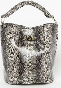 Bolsa Transversal Snake - Cinza & Preta - 19X22X15Cmgatabakana