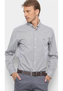 Camisa Manga Longa Tommy Hilfiger Core Stripe Masculina - Masculino