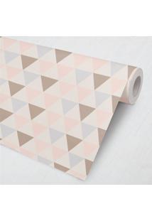 Papel De Parede Geométrico Triângulos Lilás 3M Grão De Gente Rosa