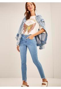 Calça Jeans Skinny Cintura Média Bordado Raio Jeans