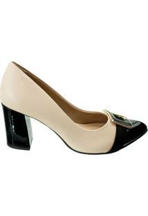 Sapato Piccadilly Salto Grosso - Feminino-Bege+Preto