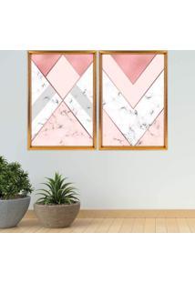 Quadro Com Moldura Chanfrada Triângulo Com Mármore Dourado - Médio
