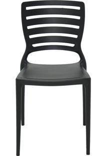Cadeira Sofia Sem Braço Encosto Vazado Preto Tramontina