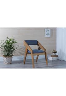 Poltrona Design De Madeira Estofada Azul Claro Quadratto - Verniz Amendoa \ Tec.930 - 55X49X78 Cm