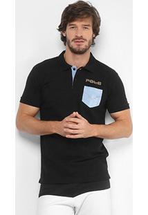 Camisa Polo Rg 518 Piquet Bolso Jeans Masculina - Masculino-Preto