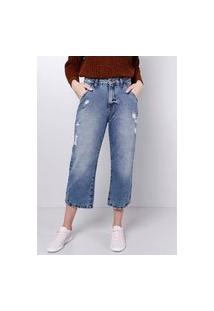 Calça Jeans Cropped Puídos Azul Médio Gang Feminina